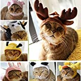 AUCH New/Cute Fashion Colorful Duck/Bee/Panda/Cow/Deer/Rabbit/Pig Shape Design Pet Dog/Cat Hat Classics Collection Pet Costume for Christmas Festival(Medium, Deer)