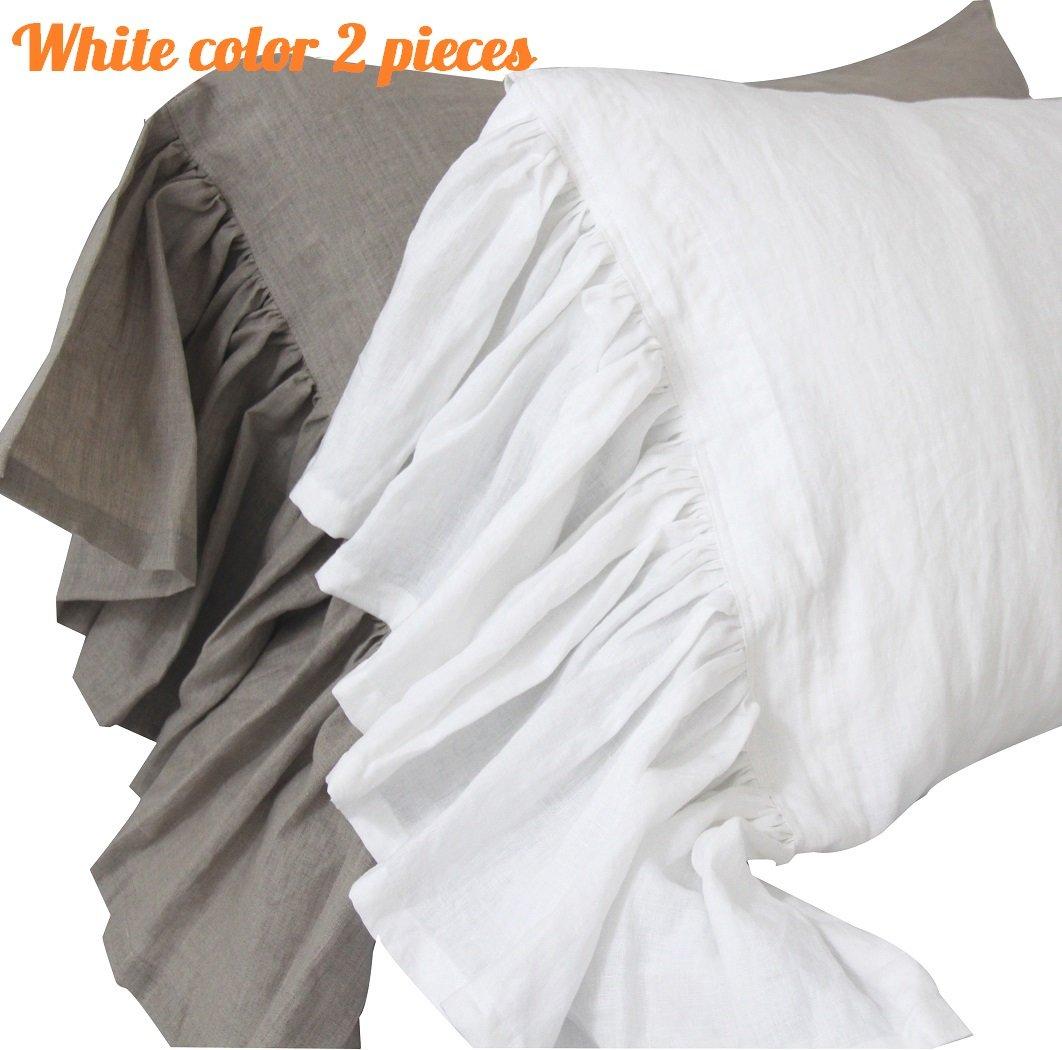 Queen's House Linen Pillowcases Standard Size White Shams Pillow Covers Set of 2-White