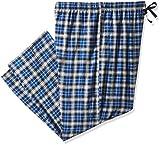 Hanes Ultimate Men's Big Flannel Pant, Blue/Black Tartan, 3X Large