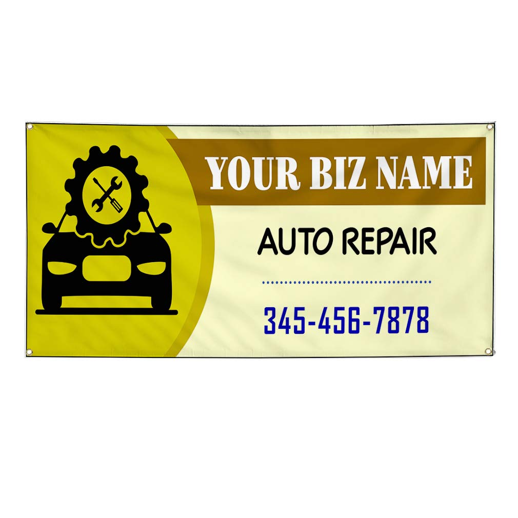 Custom Vinyl Banner Sign Multiple Sizes Business Name Auto Detail Phone Number B Automotive Car Outdoor Olive-Green 10 Grommets 60inx144in One Banner