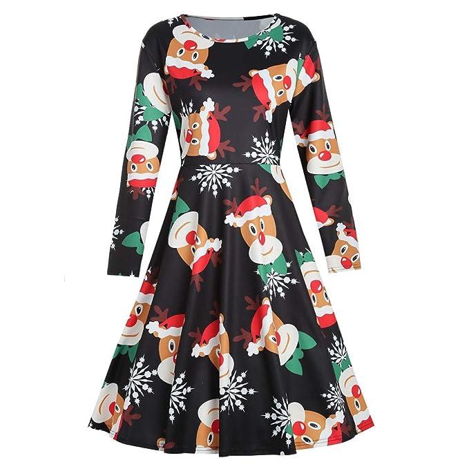 Cebbay Navidad Falda Larga Mujer Vestido de Navidad Faldas largas Vestido Estampado de Manga Larga con
