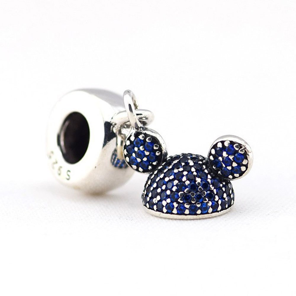Disney Mickey Blue Ear Hat Sparkling Pandora Exclusive Parks Collection 60TH Anniversary