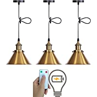 3 Pack Wireless Dimmable Hanging Pendant Light, Adjustable Battery Operated Hanging Ceiling Light with Remote, Indoor…