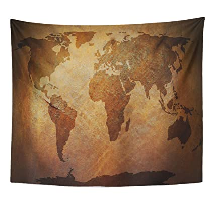 Strange Amazon Com Emvency Decor Wall Tapestry Tan Global World Map Home Remodeling Inspirations Basidirectenergyitoicom