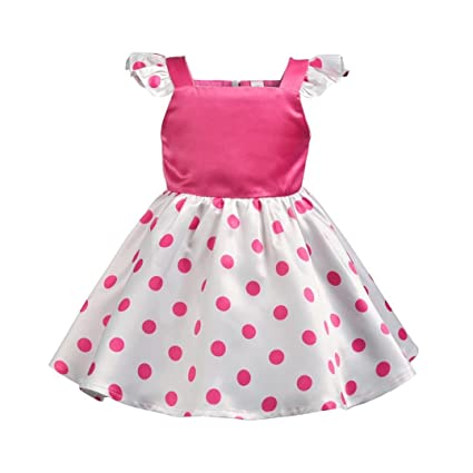 Niña bebé vestido,Sonnena ❤ ❤ ❤ Rosa-blanco Punto impresión