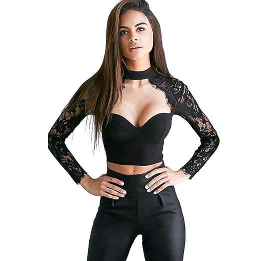 65e000456c8 Sunfei Women Lace Long Sleeve Crop Tops Blouse Shirt Bustier Bralette  T-Shirts (S