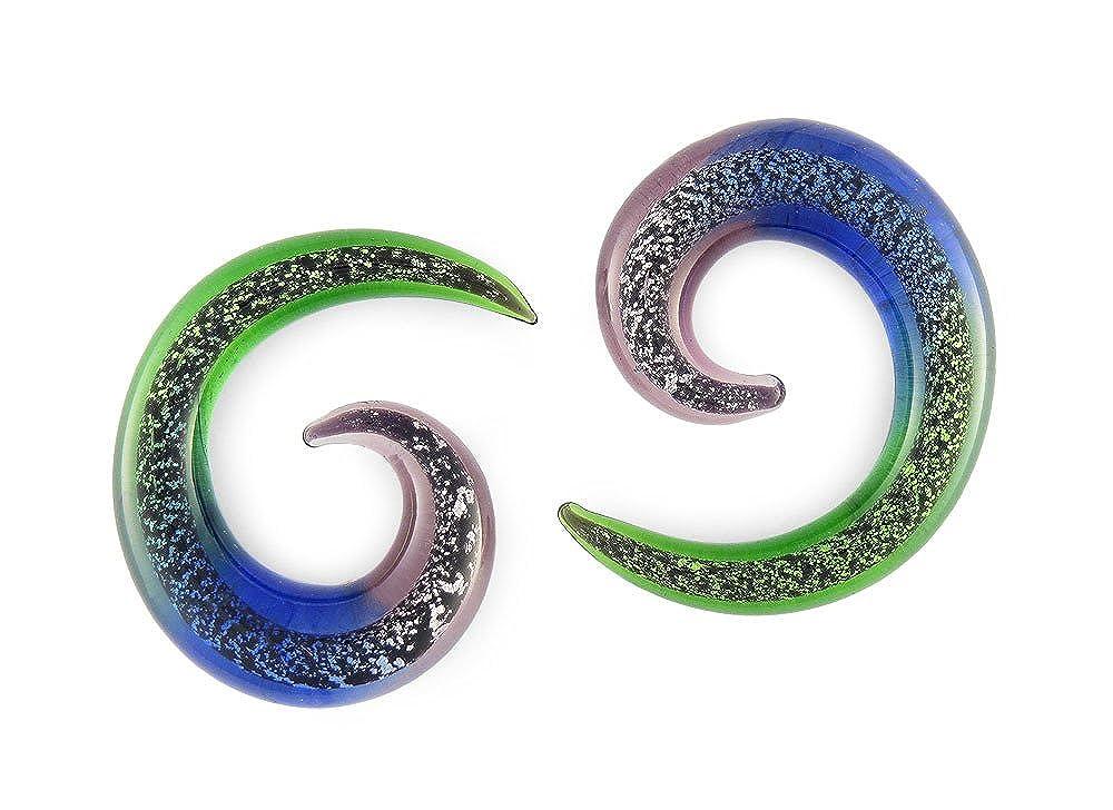 Pair Dichroic Pyrex Glass Spiral 4g 4 gauge 5mm