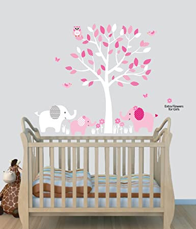 Elephant Nursery Tree Decal, Pink Wall Stickers, Animal Decals, Baby Pink Part 83