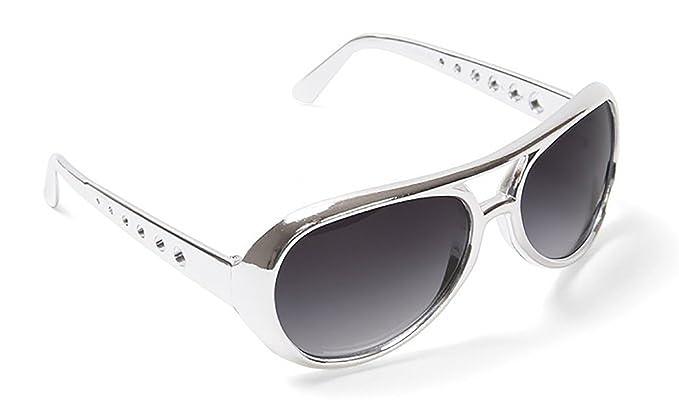 c0a8bfc621db Amazon.com  Silver Elvis Sunglasses-Rock Star Elvis Presley Rockstar ...