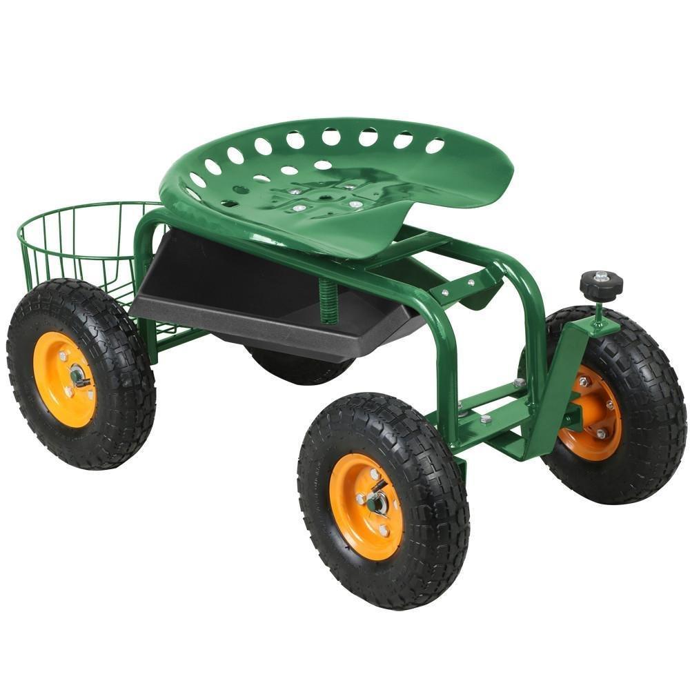 go2buy®Garden Cart Rolling Work Seat With Tool Tray Gardening Planting Yard Heavy Duty