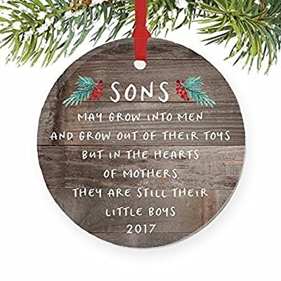 "Gift for Son, Christmas Ornament 2017 Sons In The Hearts of Mothers Poem Present Idea, Mom from Young or Grown Child Xmas Ceramic Farmhouse Keepsake 3"" Flat Circle Porcelain with Red Ribbon & Free Box"