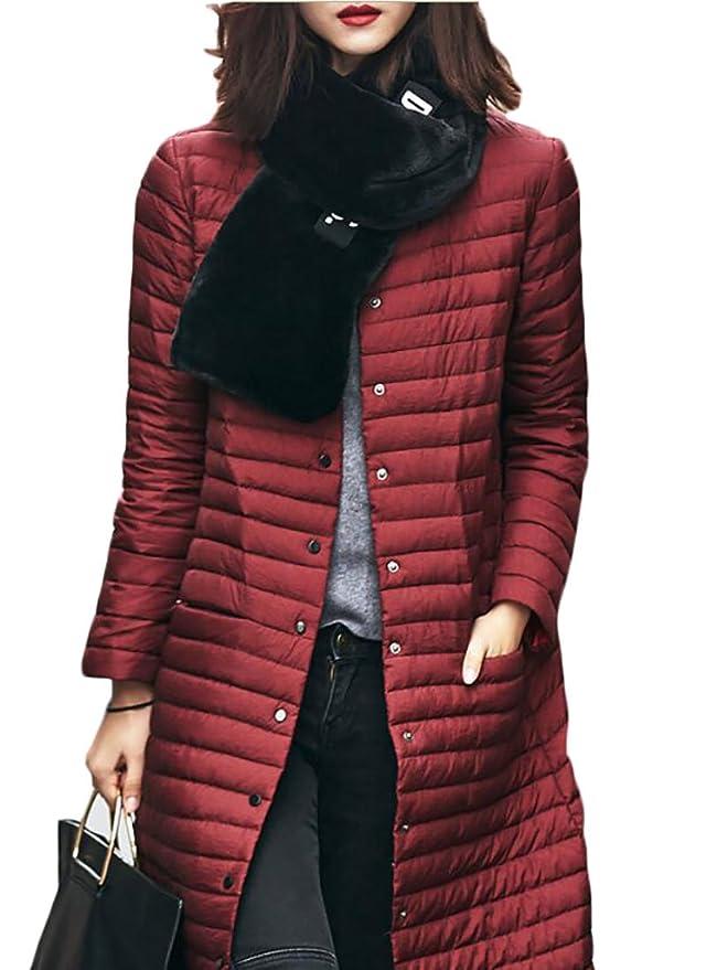 9b5d5895623 ouxiuli Women s Classic Lightweight Long Sleeve Slim Fit Plus Size Long  Puffer Jacket Coat at Amazon Women s Coats Shop