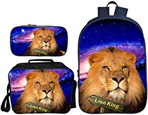 Asdfnfa Backpack Children's Three-Piece Suit 3D Printing Starry Sky Lion King Primary School Bag with Lunch Bag and Pencil Case (Color : 8)