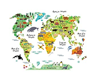 Amazon large mobile cartoon background color english word large mobile cartoon background color english word animal world map children education for kids rooms parlour gumiabroncs Choice Image