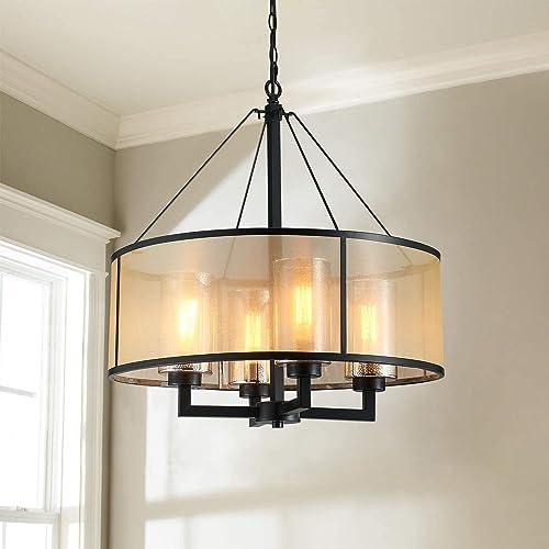 Saint Mossi 4-Lights Modern Chandelier Lighting,LED Drum Light,Retro Pendant Lighting Fixture