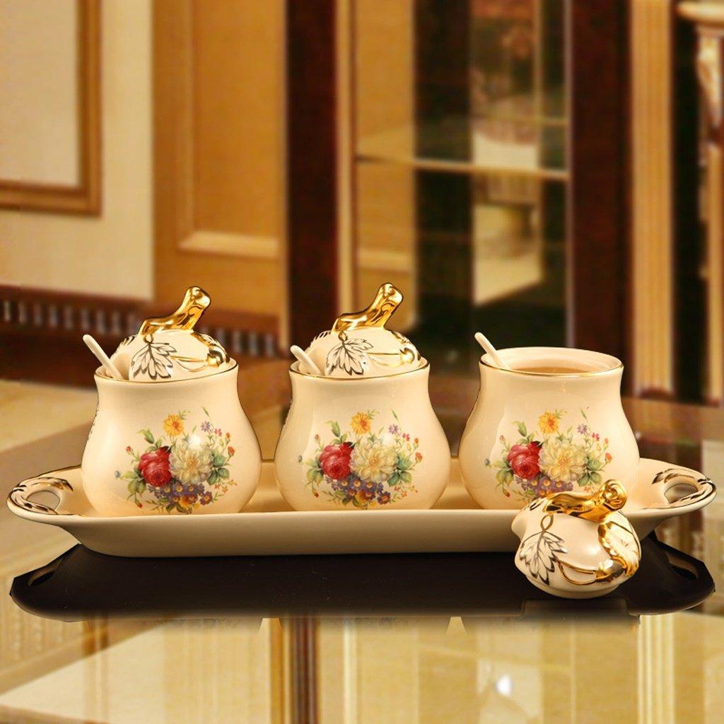 ETERLY New European Ceramic Seasoning Jar Luxury Kitchen Supplies Seasoning Box Storage Tank Cruet Three-piece Suit by ETERLY