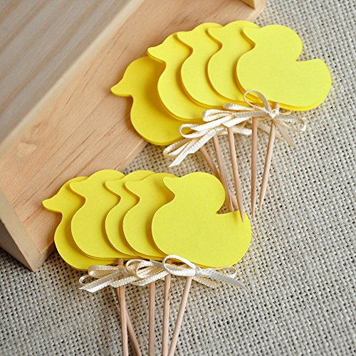 Gender Neutral Baby Shower Decorations. Yellow Duck Cupcake Toppers 12 CT.