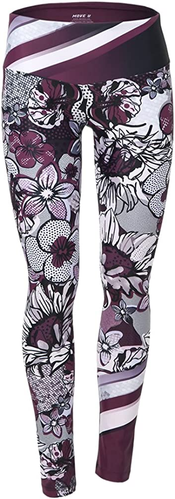 Alexandra Collection Womens Mid-Waist Plum Blossom Athletic Workout Leggings