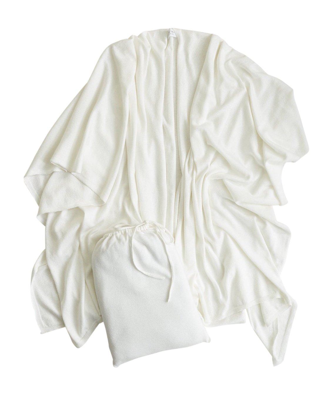 Mer Sea Cotton Cashmere Travel Wrap (White)