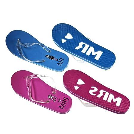 c0e943aa9223 Mr   Mrs Honeymoon Blue   Pink Flip Flops Set - (set of 2) Ladies One Size  UK 6-8 Mens One Size UK 9-11  Amazon.co.uk  Kitchen   Home