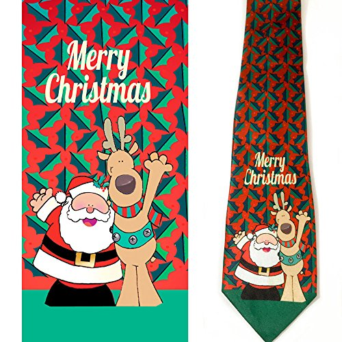 Stonehouse Collection Men's Christmas Tie - Fun Merry Christmas Necktie