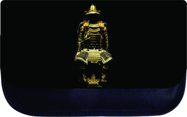 Girls Gold Military Samurai Print Design Multi-Purpose Black Laptop Shoulder Messenger Bag and Small Wire Accessories Case Set