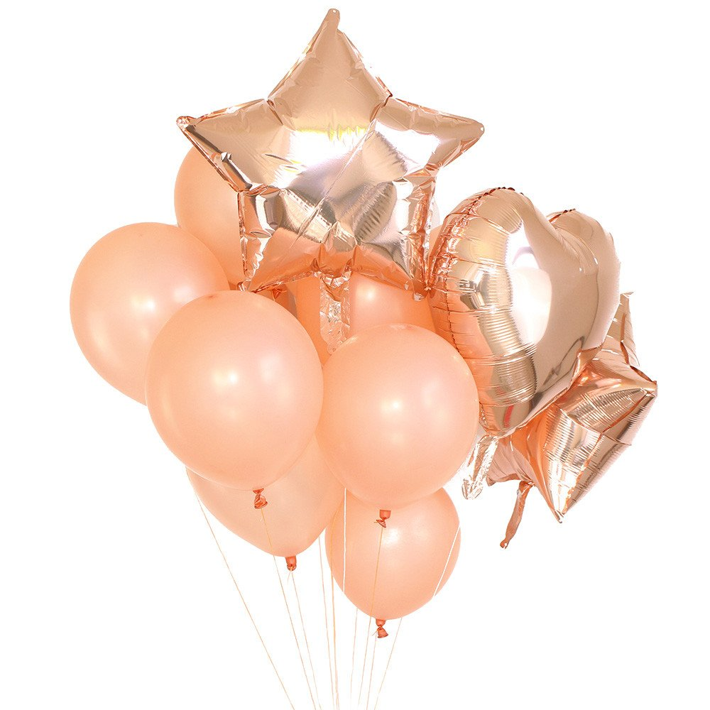fenleo 14個ローズゴールドホイルバルーン&ラテックスBallonセット結婚式、誕生日、ブライダルシャワー、ベビーシャワー、パーティー装飾   B07D5DPBJT