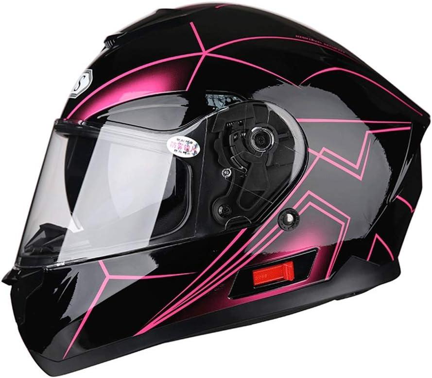 取り外し可能なヘルメット多機能防曇ダブルレンズオートバイ男性と女性のフルフェイスヘルメットカラーオーロラ 保護 (Color : 黒, Size : XXL)