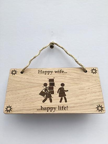 Femme Happy Happy Life Plaque En Bois Style Shabby Chic