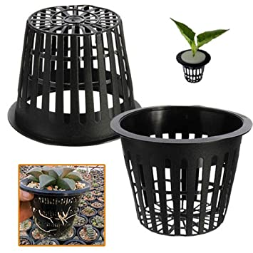 Amazon garden pots planters 10pcs black plastic hydroponic garden pots planters 10pcs black plastic hydroponic planting mesh net baskets garden plant grow cup workwithnaturefo