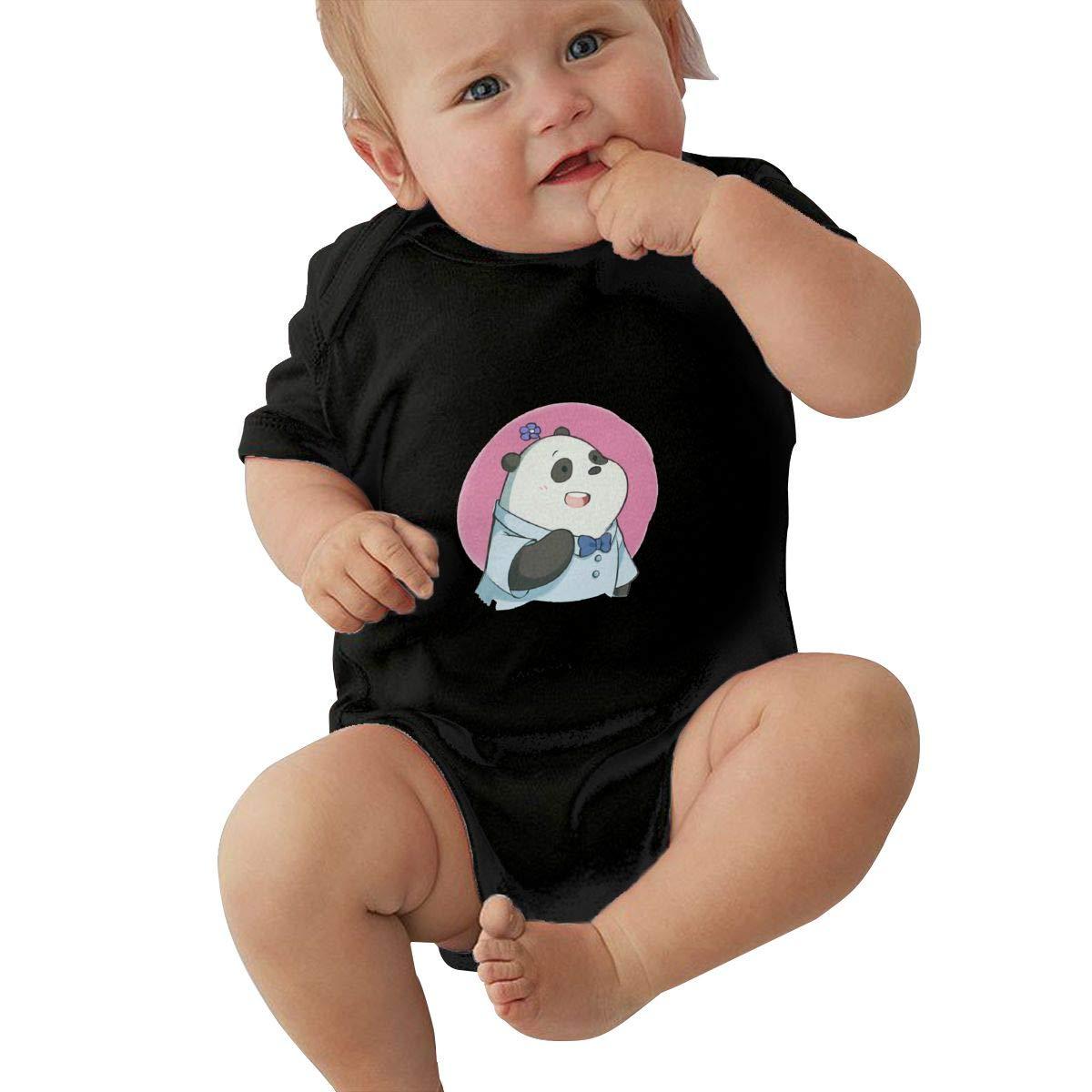 KunYuHeng Unisex Baby Round Neck Short Sleeve Onesie We Bare Bears Funny Crawling Clothes Black