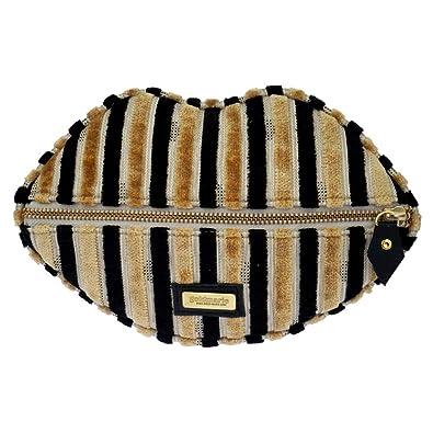 92084d5eb2f27 Goldmarie Kosmetik Clutch Mund Kosmetiktasche Samt Look Make up Tasche  Streifen Partytasche schwarz beige