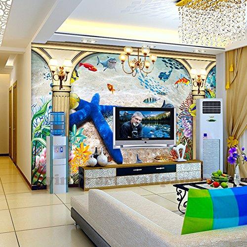 BZDHWWH Custom Personalized 3D Wallpaper Underwater World Starfish Shark Mural Children Room Tv Backdrop Aquarium Wallpaper Mural,160Cm (H) X 240Cm (W)