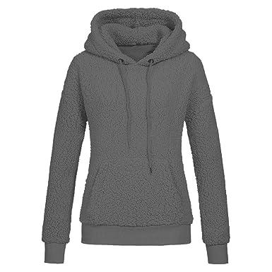 Goosuny Damen Kapuzenpullover Mit Tasche Warm Pelz Mantel Pullover Kapuze  Sweatshirt Wintermantel Outwear Solid Hooded Hoodie d9cd320481