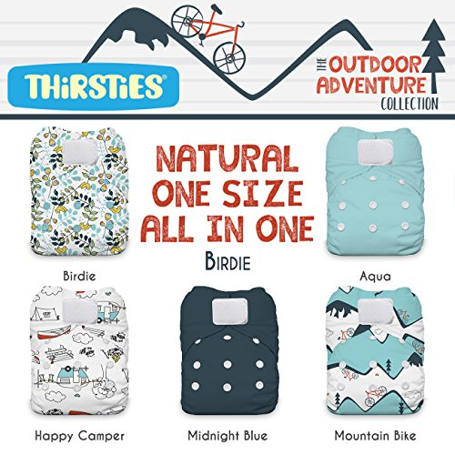 Thirsties Package, Natural One Size All In One Hook & Loop, Outdoor Adventure Collection Birdie by Thirsties