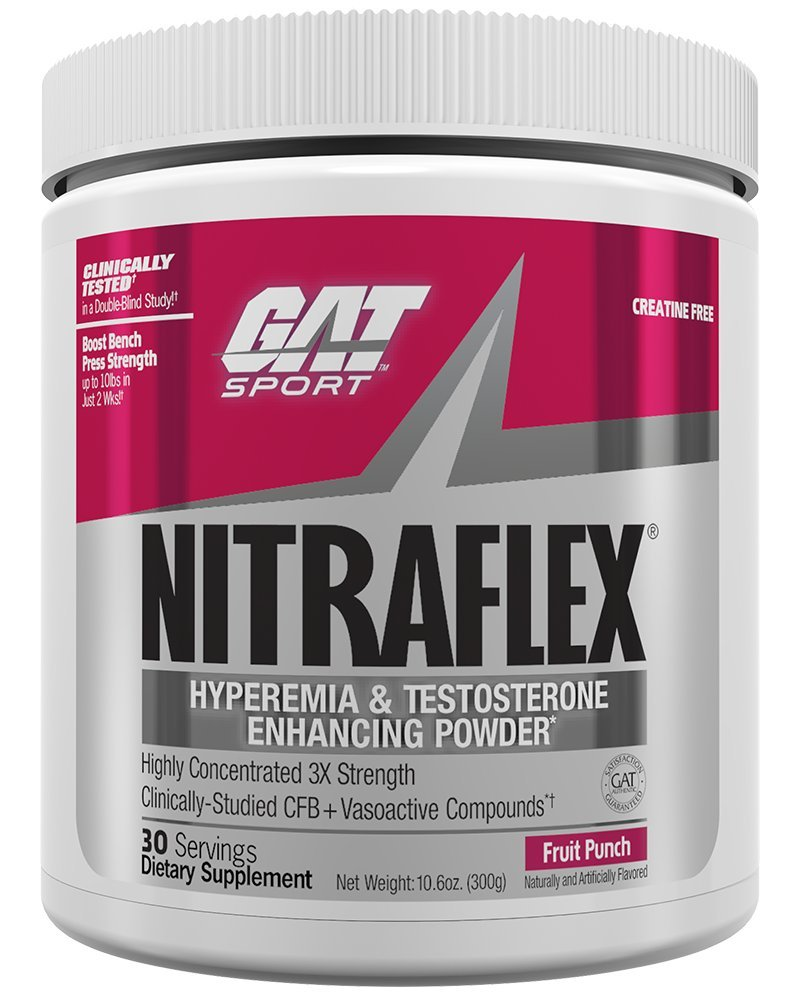 GAT Clinically Tested Nitraflex, Testosterone Enhancing Pre Workout, Fruit Punch,300 Gram