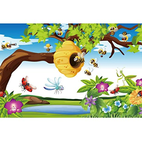 Amazon Com Aofoto 10x7ft Cartoon Busy Bees And Beehive