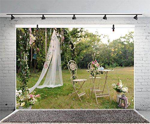 Leyiyi 5x3ft Photography Background Wedding Ceremony Backdrop Outdoor Marriage Party Grassland Rose Petal Arch Door Curtain Chair Table Birdcage Bridal Shower Photo Portrait Vinyl Studio Video Prop ()