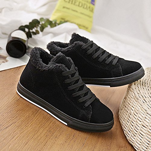 CYBLING Womens Winter Flat Shoes Casual Fashion Sneakers Comfort Soles Shoes Black 3rEooA8