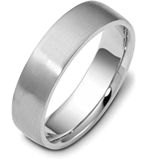 womens 18k white gold domed contemporary brushed 6mm wedding band