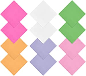 Hedume 240 Pieces 2-Ply Paper Napkin, 6 Colors Cocktail Beverage Napkins, Brigh Beverage Luncheon Napkins for Party Decoration