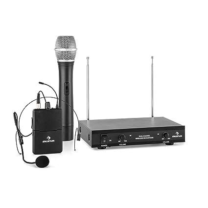 auna VHF-2-HS Set micrófonos inalámbricos VHF de 2 canales (alcance hasta