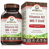 NutriGold Vitamin K2 (Food-Sourced as MK-7) Gold - Bone and Heart Support - 100 mcg (120 Count)