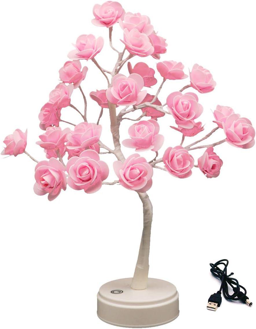 ITICdecor Rose Tree Lamp 30 LED Beside Night Light USB Battery Powered Gift for Girls Women Teens Home Decor for Wedding Christmas Bedroom Party (Pink Rose)