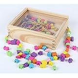 B&Julian Perline di legno creativi Set di perle 180 pezzi 4 corde colorate in scatola di legno con coperchio bambini