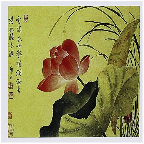 3dRose Lotus Flower by Yun Shouping Japanese Art - Greeting Cards, 6 x 6 inches, set of 6 (gc_126518_1) (Lotus Note Cards)