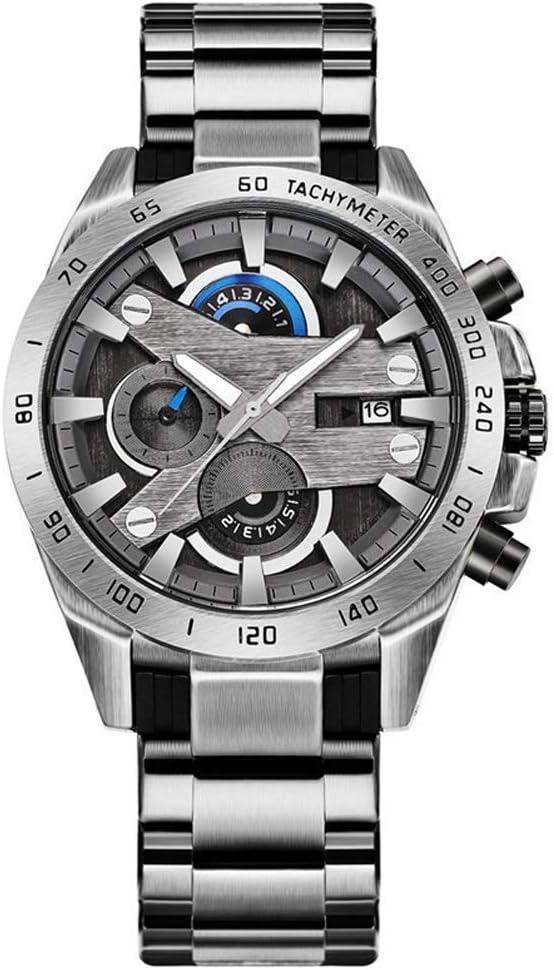 Yikuo Reloj De Hombre Multifunción/Reloj Militar Hombre/Correa De Acero Cronógrafo De Cuarzo Impermeable/Buen Material, Práctico Y Duradero Delicado (Color : Silver)
