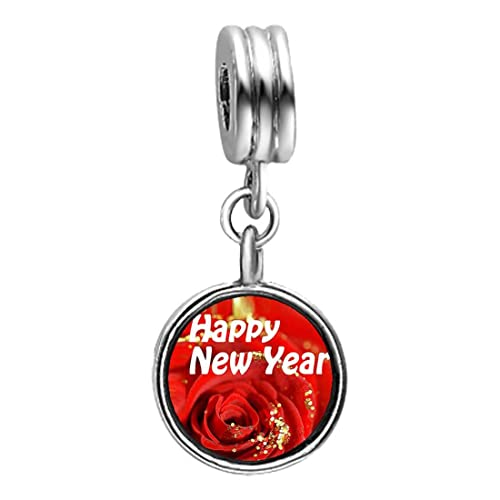 giftjewelryshop happy new year red rose photo blue aquamarine crystal march birthstone flower dangle charm bracelets