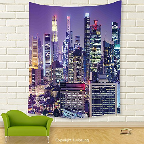 Vipsung House Decor Tapestry_Modern Singapur City Financial District At Night With Skyscrapers Metropolis Panorama Violet Silver_Wall Hanging For Bedroom Living Room (Financial District Halloween)