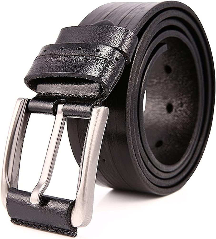 JOYIR Mens Genuine Leather Belt Cowhide Metal Pin Buckle Handmade Waist Belt